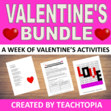 Valentine's Day Bundle  NO PREP activities for the entire week of Valentines.