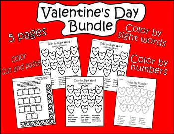 Valentine's Day Bundle-Sight Words, Numbers, Color-Cut-Paste Activities