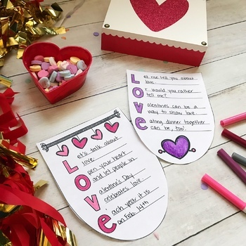Valentine's Day Bunting Banner- February No Prep Writing Activity