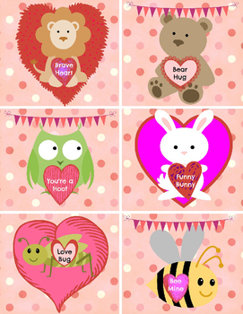"""Valentine's Day CARDS for your students - cards are in Word - 8.5""""x11"""""""