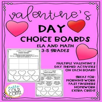 Valentine's Day CHOICE Boards MATH & ELA