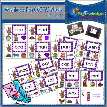 "Valentine's Day CVC ""A"" Words Clip Cards"