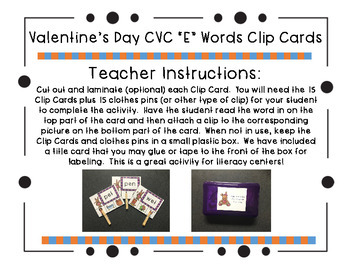 "Valentine's Day CVC ""E"" Words Clip Cards"