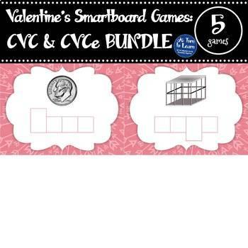 Valentine's Day CVC & CVCe Words: Smartboard/Promethean Games BUNDLE (5 games!)