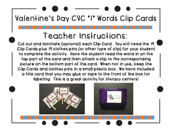 "Valentine's Day CVC ""I"" Words Clip Cards"