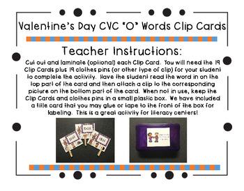 "Valentine's Day CVC ""O"" Words Clip Cards"