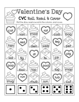 Valentine's Day CVC - Roll, Read, and Cover