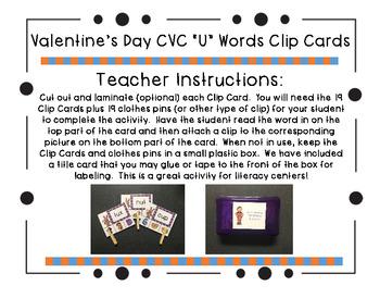 "Valentine's Day CVC ""U"" Words Clip Cards"