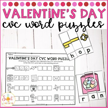 Valentine's Day CVC Word Puzzles