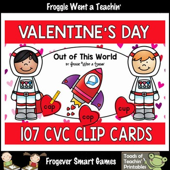 "#Friday13th -- CVC Words 107 Clip Cards ""Out of This World"""