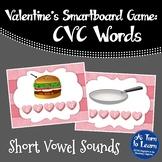 Valentine's Day CVC Words: Short Vowel Sounds Game (Smartboard/Promethean Board)