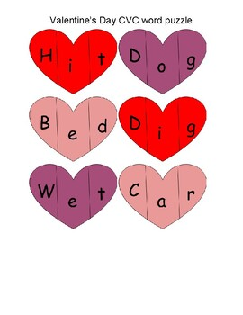 Valentine's Day CVC word puzzle