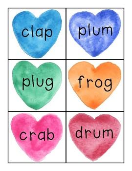 Valentine's Day CVCC CCVC Blending Flashcards Game