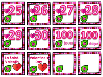 Valentine's Day Calendar Number Visuals - Bilingual