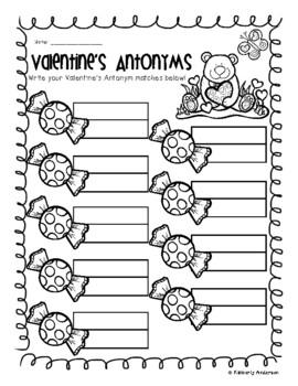 Valentine's Day Candy Antonyms Match