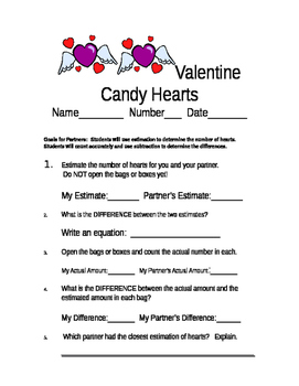 Valentine's Day Candy Heart Activity