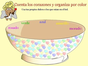 Valentine's Day Candy Heart Counting and Sorting, plus ESOL component