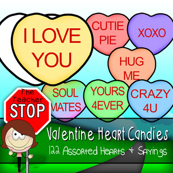 Valentine's Day Clip Art Candy Hearts {The Teacher Stop}