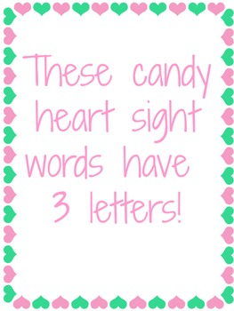 Valentine's Day Candy Hearts Sight Word Sort Center