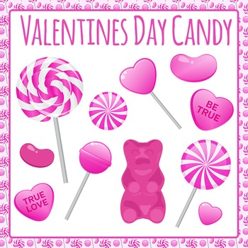 Valentine's Day Candy / Lollies / Sweets Clip Art Set for