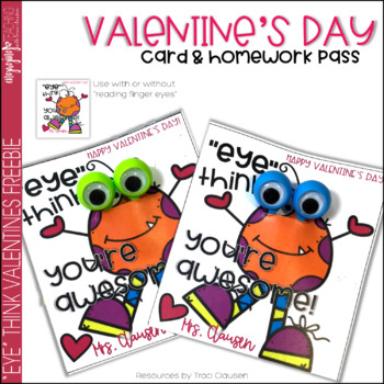 "Valentine's Day Card FREEBIE - ""Eye"" Think You're Awesome"