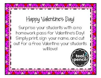 Valentine's Day Card--No Homework Pass
