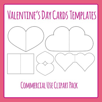 Valentine's Day Card Templates Commercial Use Clip Art Set