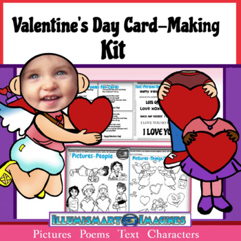 Valentine's Day Card and Craft Kit! Poems, Pictures,  Text, & Characters!