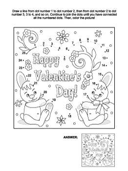 Valentine's Day Card with Bunnies Connect the Dots and Coloring Page, CU