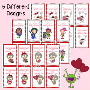 Student Valentine's Day Cards - 5 Different Designs