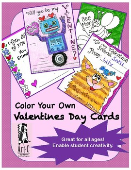 Valentine's Day Cards - Coloring  & Writing Activity