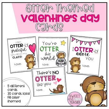 Otter Themed Valentine's Day Cards