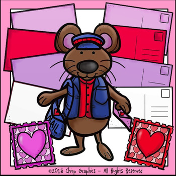 Valentine's Day Mice and Mail Clip Art Set - Chirp Graphics