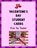 Valentine's Day Cards for Students from the Teacher