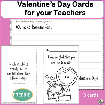 Valentine S Day Cards For Teacher S Activity Free By Primarily