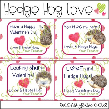 Valentine's Day Cards for Teachers or Students Hedgehog LOVE
