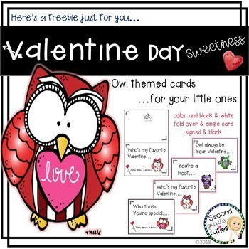 Valentine's Day Cards for Teachers or Students  Owl LOVE