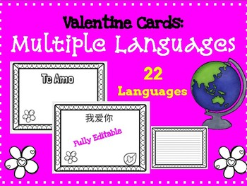Valentine's Day Cards in Multiple Languages