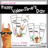 Valentine's Day Cards or Book Marks for Teachers or Students Llama Love