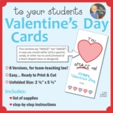 Valentine's Day Cards to Students from Teacher, You Amaze