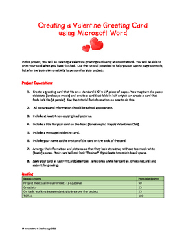 Valentine's Day Cards using Microsoft Word