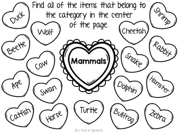 Valentine's Day Category Worksheets - FREEBIE!