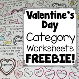 Valentine's Day Category Worksheets FREEBIE