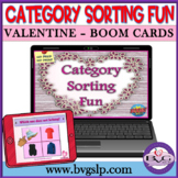 BOOM Cards Category and Sorting Valentine's Day PLUS PDF Format - Teletherapy
