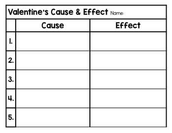 Valentine's Day Cause and Effect Activities Pack