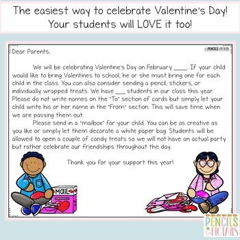 Valentine's Day Celebration - Free Letter to Parents - Several Options Included