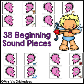 Valentine's Day Center: Beginning & Ending Sounds in CVC Words