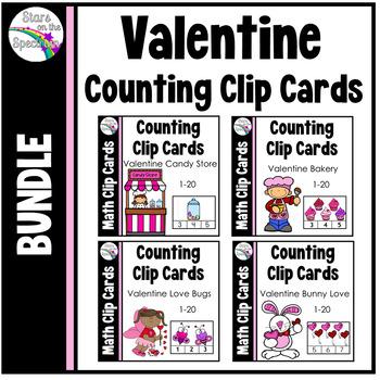 Valentine's Day Math Centers Clip Card Bundle