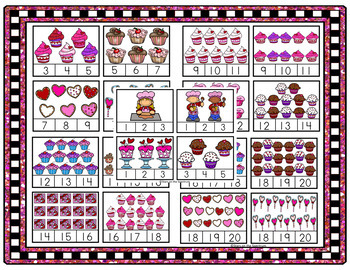 Valentine's Day Math Centers Counting Clip Card Bundle
