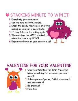 Valentine's Day Centers or Game Instructions For Any Grade Level